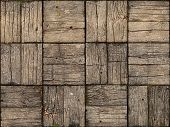 stock photo of woodgrain  - Seamless Background of an old weathered parquet style wooden deck with alternating woodgrain pattern - JPG