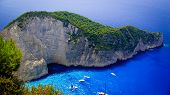stock photo of shipwreck  - Aerial view of the most beautiful beach in Zakynthos island - Navagio with shipwreck Greece Ionian islands