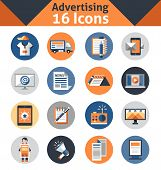 foto of promoter  - Advertising media support marketing and promotion icons set isolated vector illustration - JPG