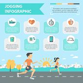 pic of chronometer  - Jogging and running infographics set with people running outdoor vector illustration - JPG