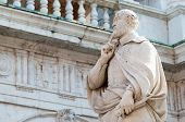 foto of vicenza  - The statue of the famous Italian architect of the Renaissance Andrea Palladio placed by the Basilica palladiana in Vicenza - JPG