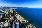 foto of angles  - Aerial view over Nha Trang city Vietnam taken from rooftop extreme wide angle - JPG