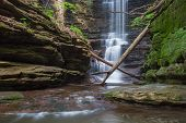 picture of illinois  - Creamy water glistens down the waterfall at Lake Falls in Matthiessen State Park Illinois - JPG