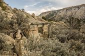 picture of sagebrush  - Dilapidated building built of stone in a ghost town in Utah - JPG