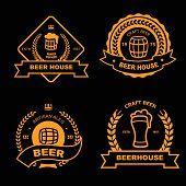 stock photo of brew  - Set of vintage gold badge - JPG