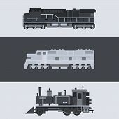 stock photo of locomotive  - Flat design of train locomotive set illustration vector - JPG