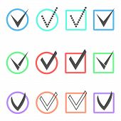 foto of confirmation  - set of different ticks in colored boxes and circles - JPG