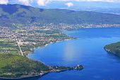 pic of annecy  - looking down on Lake Annecy in France - JPG
