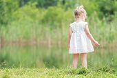 foto of ponytail  - Little girl in light summer dress near green forest pond - JPG