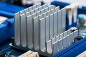 stock photo of cpu  - Aluminum cpu cooler heat sink isolated on white - JPG