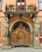 stock photo of sibiu  - Sibiu city Romania Kariatidas House architecture detail - JPG