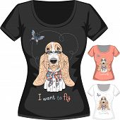 stock photo of hound dog  - Vector women T - JPG