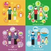 foto of cartoon people  - Family with children kids people concept icons set of parenting in flat design styly - JPG