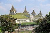 stock photo of yangon  - Traditional architecture railway station building in Yangon - JPG