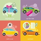 Buying car, rent and loan poster