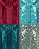 foto of gothic  - Vector seamless pattern with colored gothic dragons - JPG