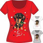 stock photo of t-shirt red  - Vector women T - JPG