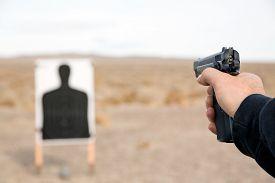 picture of handgun  - Target shooting with handgun on remote location - JPG