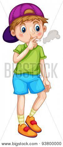 Close up little boy smoking cigarette