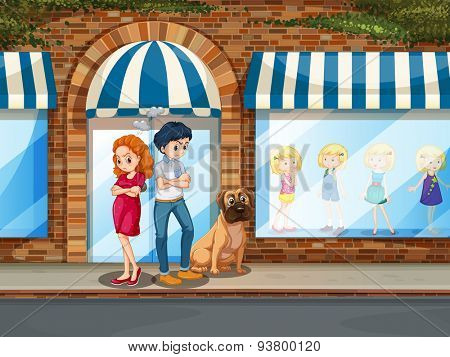 Man and woman looking angry in front of the shop