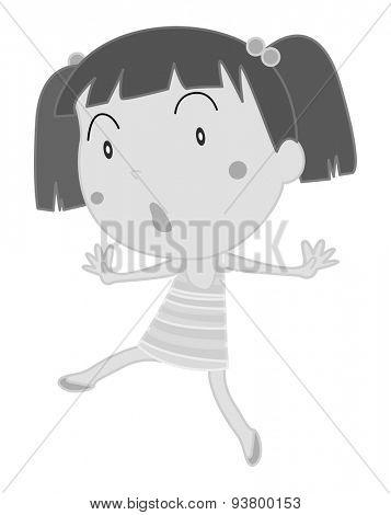 Doodle cute girl walking alone
