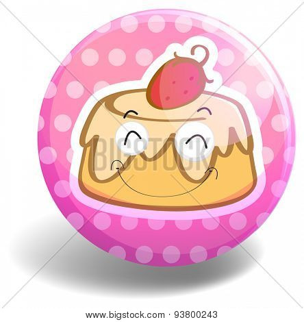 Round badge with pudding on pink background