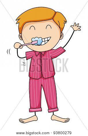 Boy in pink pajamas brushing teeth