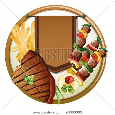 Empty banner with different food background