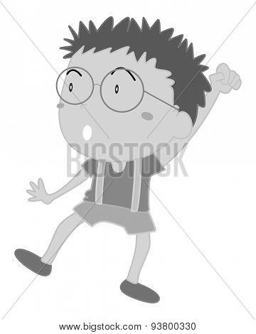 Happy boy wearing eyeglasses rising his hand