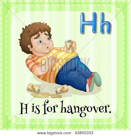 Flashcard letter H is for hangover