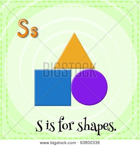 Flashcard letter S is for shapes