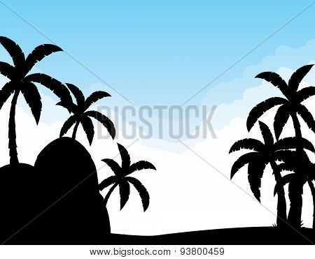 Silhouette scene with coconut trees at daytime