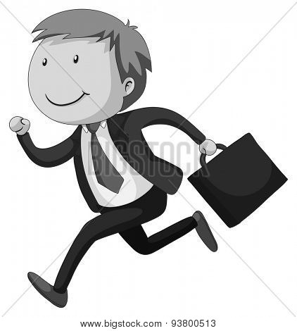 Happy businessman with a briefcase running