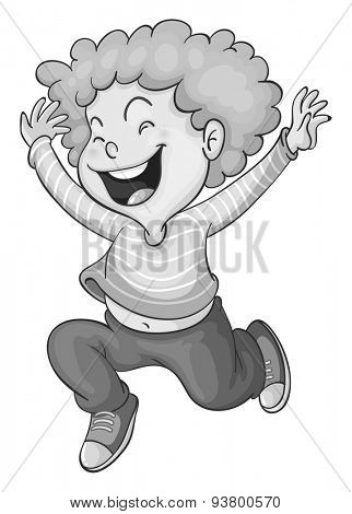 Happy boy laughing and jumping