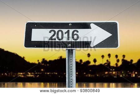 2016 direction sign with sunset background