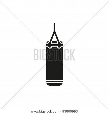 The Punching Bag Icon. Boxing Symbol. Flat