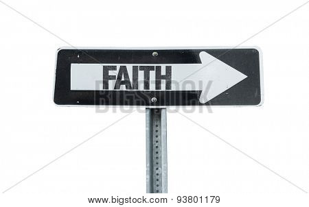 Faith direction sign isolated on white