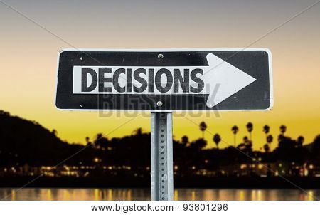 Decisions direction sign with sunset background