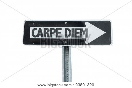 Carpe Diem direction sign isolated on white