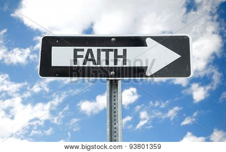 Faith direction sign with sky background