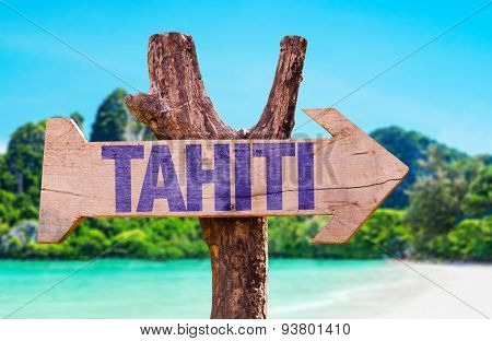 Tahiti wooden sign with beach background