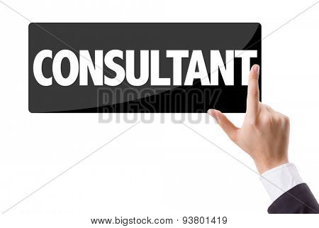 Businessman pressing button with the text: Consultant
