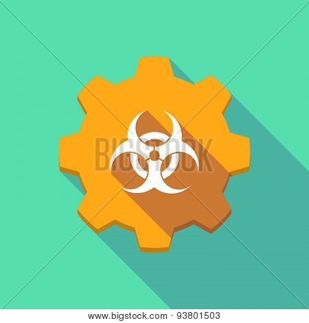 Long Shadow Gear Icon With A  Biohazard Sign