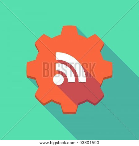 Long Shadow Gear Icon With A  Rss Feed Sign