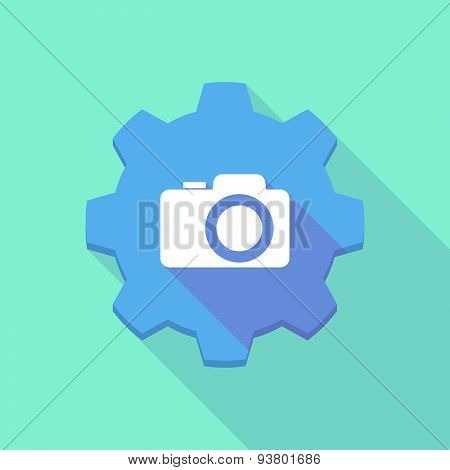 Long Shadow Gear Icon With A  Camera