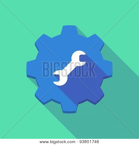 Long Shadow Gear Icon With A  Wrench