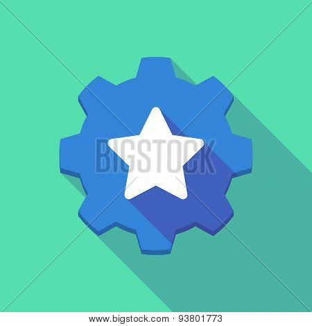 Long Shadow Gear Icon With A  Star