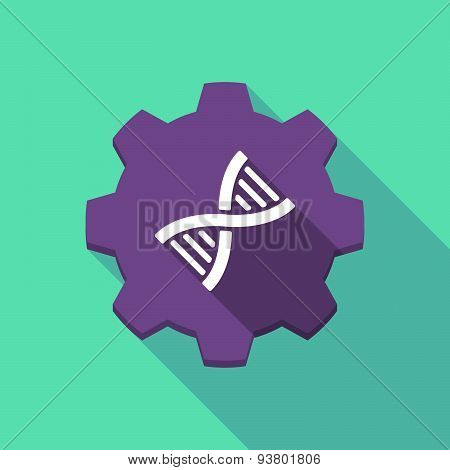 Long Shadow Gear Icon With A  Dna Sign