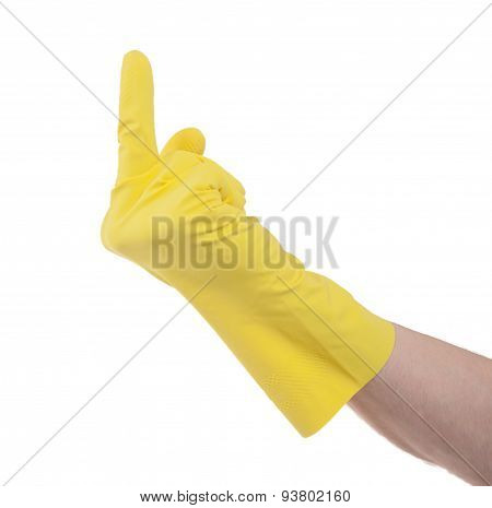 Yellow Glove Middle Finger