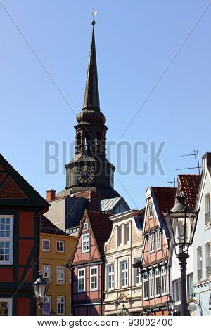 Historic facades and bell tower of Saint Cosmae church at Stade, Lower Saxony